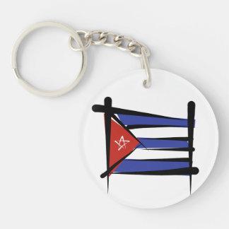 Cuba Brush Flag Double-Sided Round Acrylic Keychain