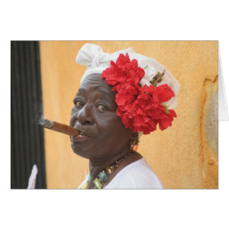 Cuba Cigar Lady Card