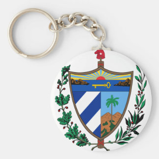 cuba coat of arms basic round button key ring