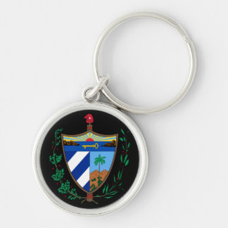 cuba coat of arms Silver-Colored round key ring
