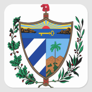 cuba coat of arms square sticker