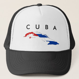 cuba country flag map shape silhouette trucker hat