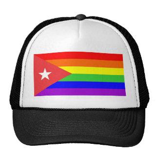 cuba country gay rainbow flag homosexual mesh hat