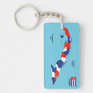 Cuba country political map flag key ring