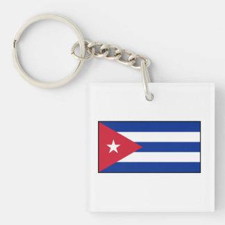 Cuba – Cuban Flag Square Acrylic Keychain