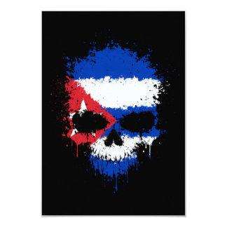 Cuba Dripping Splatter Skull 9 Cm X 13 Cm Invitation Card