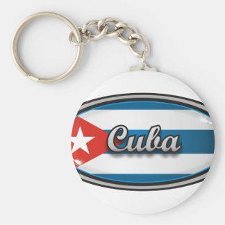 Cuba flag 1 basic round button key ring