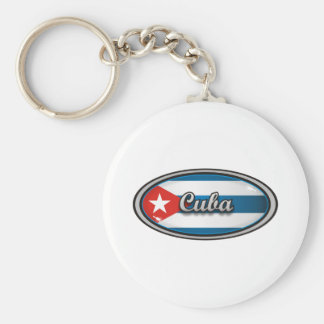 Cuba flag 1 basic round button key ring