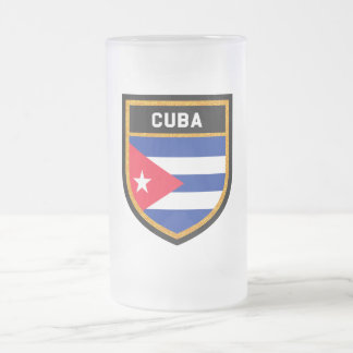 Cuba Flag Frosted Glass Beer Mug