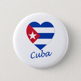 Cuba Flag Heart 6 Cm Round Badge