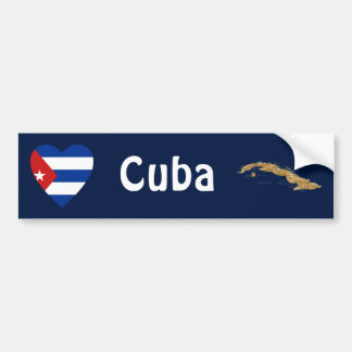 Cuba Flag Heart + Map Bumper Sticker
