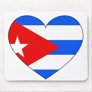 Cuba Flag Heart Mouse Mat