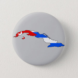 Cuba flag map 6 cm round badge