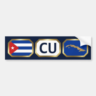 Cuba Flag Map Code Bumper Sticker