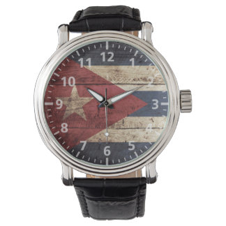 Cuba Flag on Old Wood Grain Watch