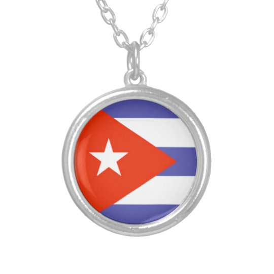 Cuba Flag Silver Plated Necklace