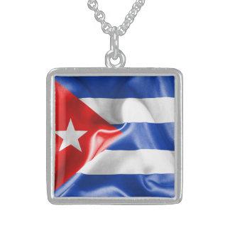 Cuba Flag Square Pendant Necklace