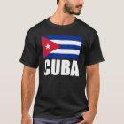 Cuba Flag White Text T-Shirt