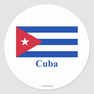 Cuba Flag with Name Classic Round Sticker