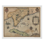 Cuba & Florida Map 1591 Posters