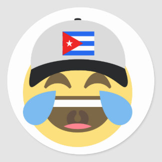 Cuba Hat Laughing Emoji Classic Round Sticker