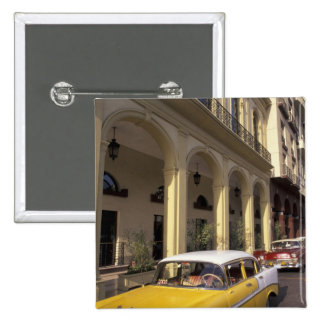 Cuba, Havana. Colorful Chevy's from the 1950's 15 Cm Square Badge