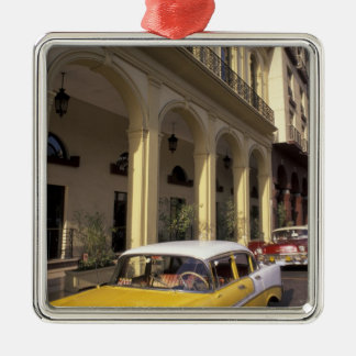 Cuba, Havana. Colorful Chevy's from the 1950's Silver-Colored Square Decoration