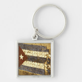 CUBA, Havana. Mosaic puzzle of the cuban flag in Silver-Colored Square Key Ring