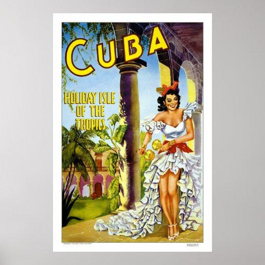 Cuba - Holiday Isle Vintage Travel Poster