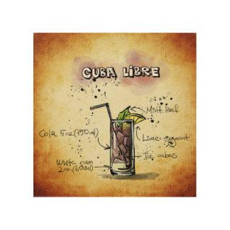 Cuba Libre Cocktail Recipe Wood Wall Art