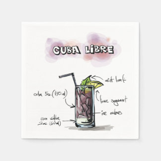 Cuba Libre Drink Recipe Cocktail Napkin Disposable Serviette