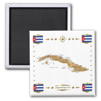 Cuba Map + Flags Magnet