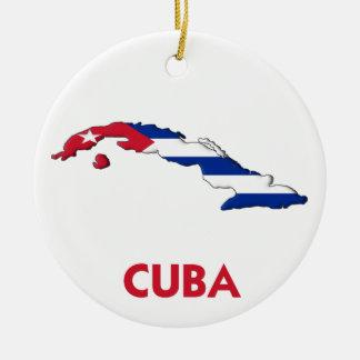 CUBA MAP ROUND CERAMIC DECORATION