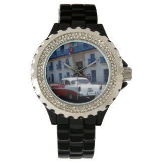 Cuba Old Car Red and White Watch
