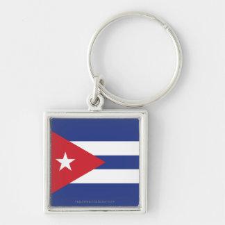 Cuba Plain Flag Silver-Colored Square Key Ring