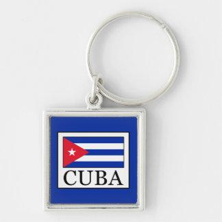 Cuba Silver-Colored Square Key Ring