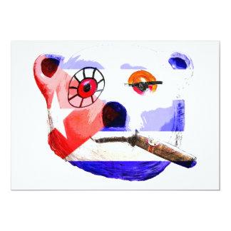 Cuba Teddy Bear with Cigar, with Cuban Flag 13 Cm X 18 Cm Invitation Card