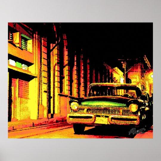 CUBA VINTAGE CAR POSTER