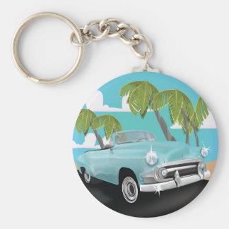 Cuba vintage car travel poster basic round button key ring