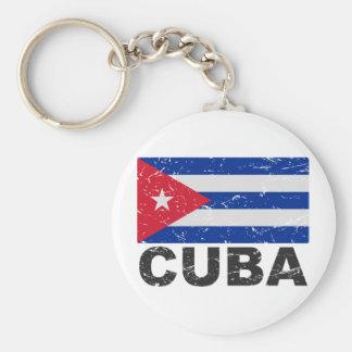 Cuba Vintage Flag Basic Round Button Key Ring