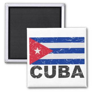 Cuba Vintage Flag Square Magnet