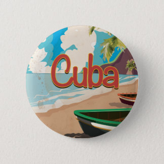 Cuba Vintage Travel Poster 6 Cm Round Badge