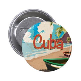 Cuba Vintage Travel Poster 6 Cm Round Badge