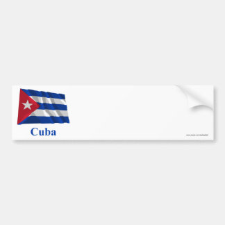 Cuba Waving Flag with Name Bumper Sticker