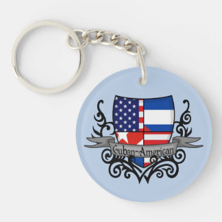 Cuban-American Shield Flag Acrylic Key Chains