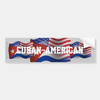 Cuban-American Waving Flag Bumper Sticker