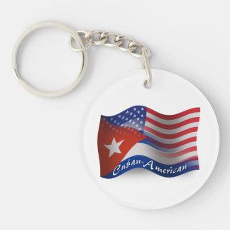 Cuban-American Waving Flag Acrylic Keychain