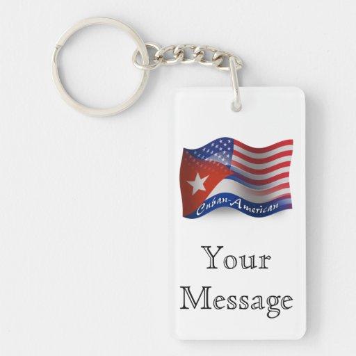 Cuban-American Waving Flag Acrylic Keychains