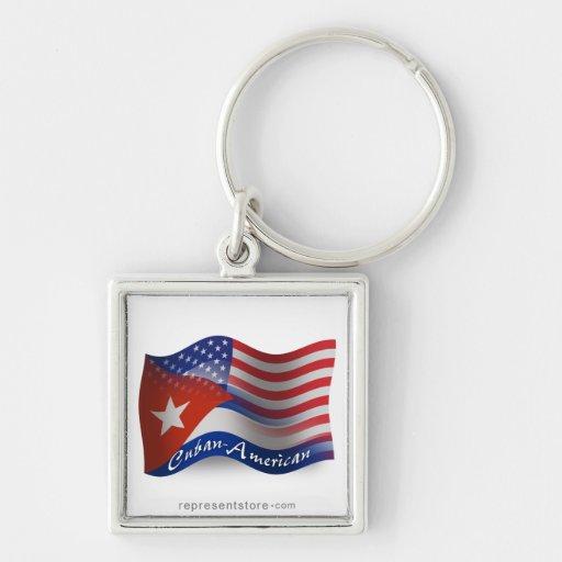 Cuban-American Waving Flag Key Chains