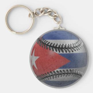 Cuban Baseball Basic Round Button Key Ring